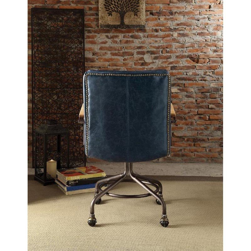 ACME Furniture Hedia Top Grain Leather Office Chair in Vintage Blue (92417)