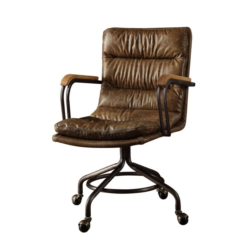 ACME Furniture Hedia Top Grain Leather Office Chair in Vintage Whiskey (92416)