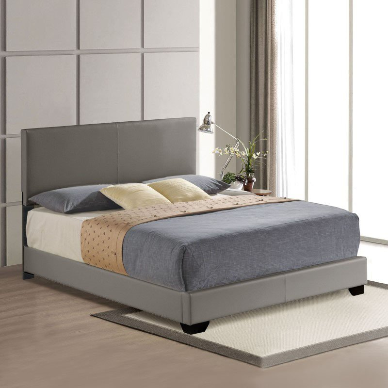 ACME Furniture Ireland Queen Bed in Gray Faux Leather (24320Q)