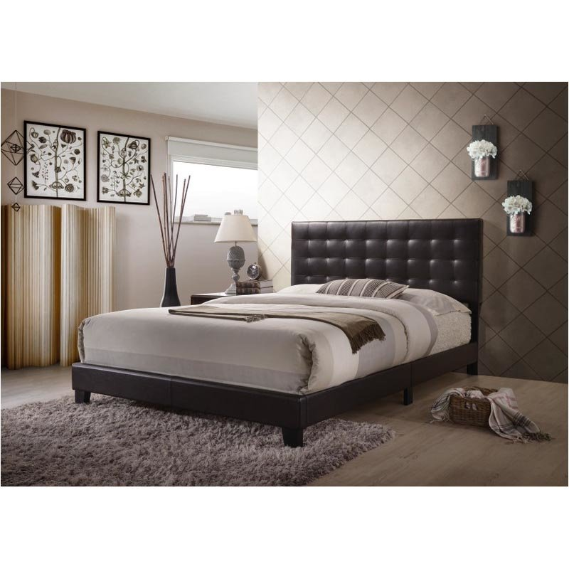 ACME Furniture Masate Queen Bed in Espresso Faux Leather (26350Q)