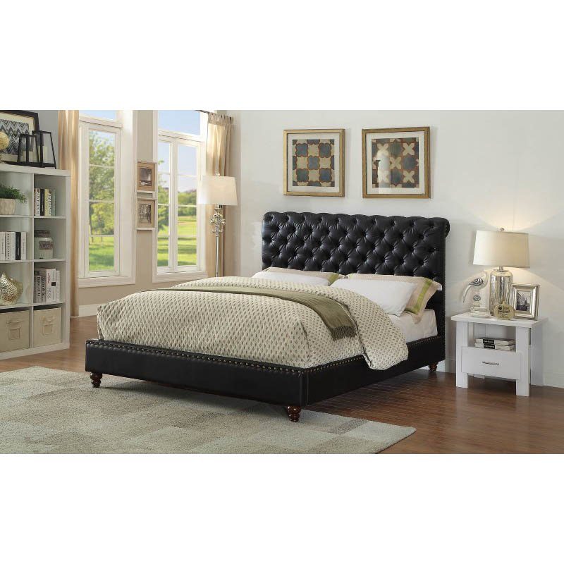 ACME Furniture Nanko Queen Bed in Black Faux Leather (26470Q)