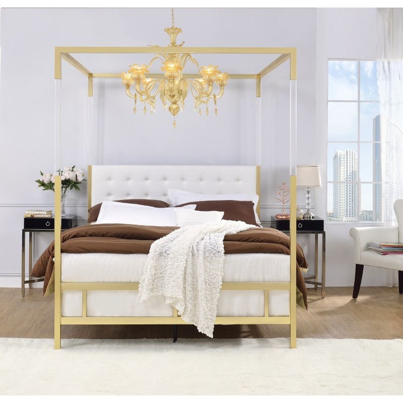 ACME Furniture Raegan Queen Bed in Acrylic - Gold and White Faux Leather (22680Q)