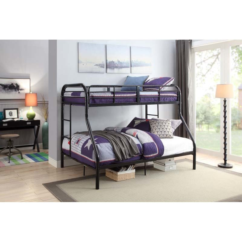 ACME Furniture Tritan Twin over Full Bunk Bed in Black (02043BK)