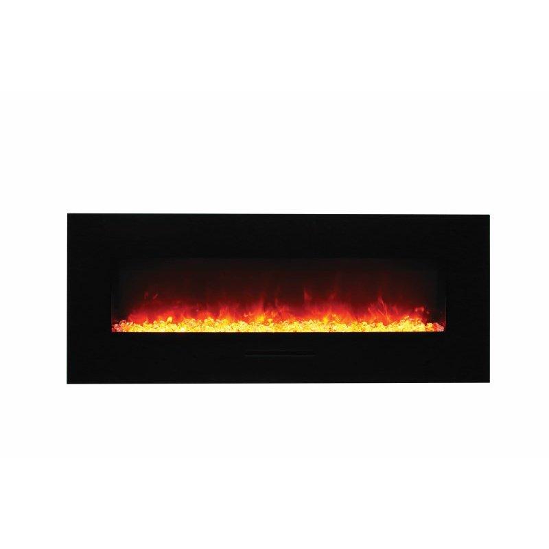 "Amantii 48"" Flush Mount Fireplace with Black Glass Surround- Log set & 3 colors of media (WM-FM-48-5823-BG-EMBER)"
