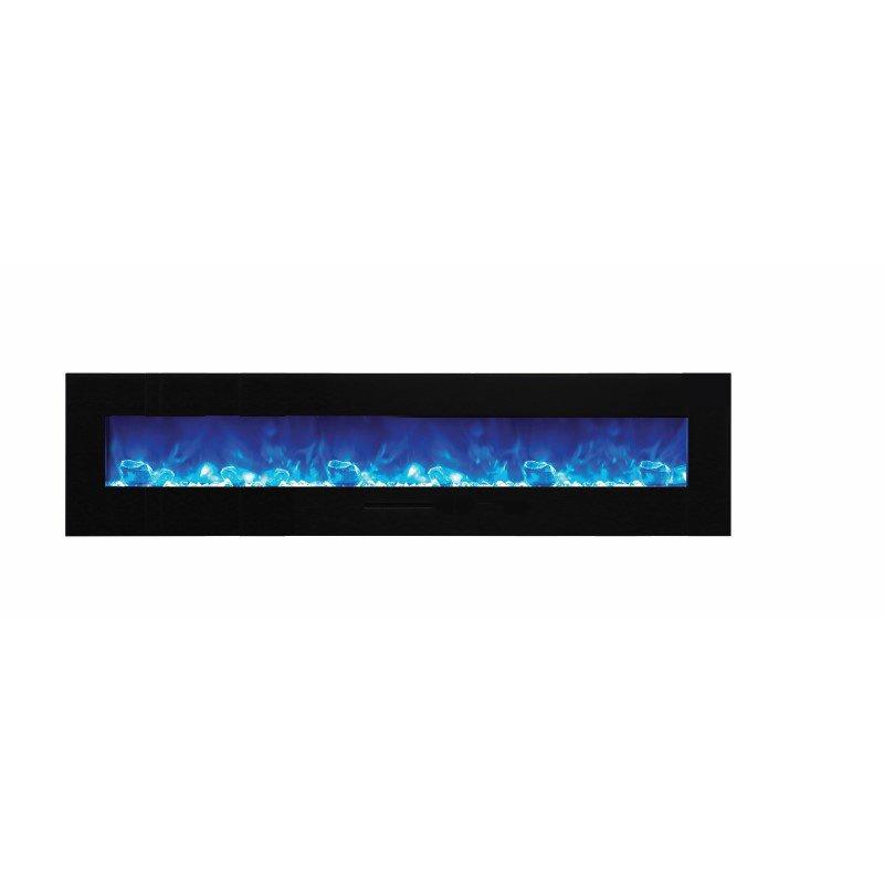 """Amantii 88"""" Flush Mount Fireplace with Black Glass Surround- Log set & Ice media (WM-FM-88-10023-BG-ICE)"""