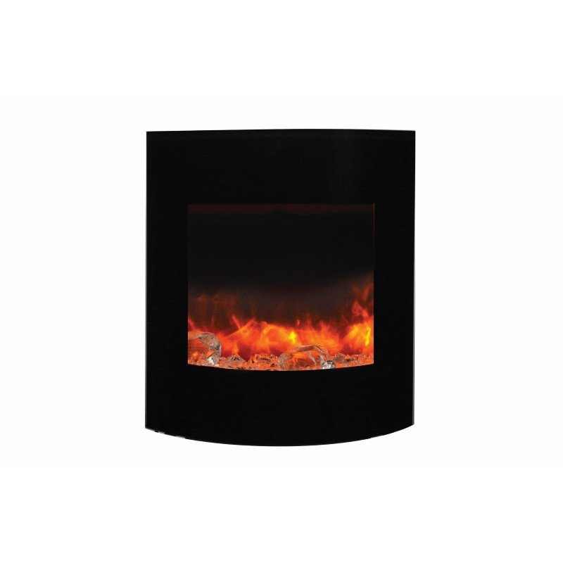Amantii ZECL electric Fireplace with Black Glass surround- 11 pce. Log set & 3 colors media (WM-BI-2428-VLR-BG-EMBER )