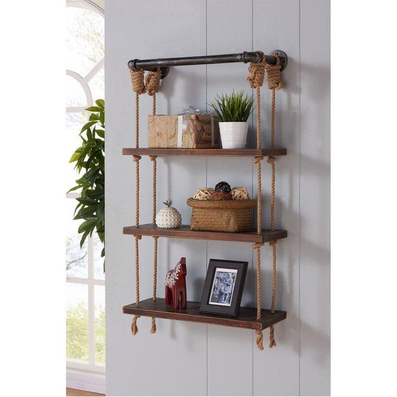 "Armen Living 24"" Brannon Modern Pine Wood Floating Wall Shelf in Gray and Walnut Finish (LCBRSH24)"