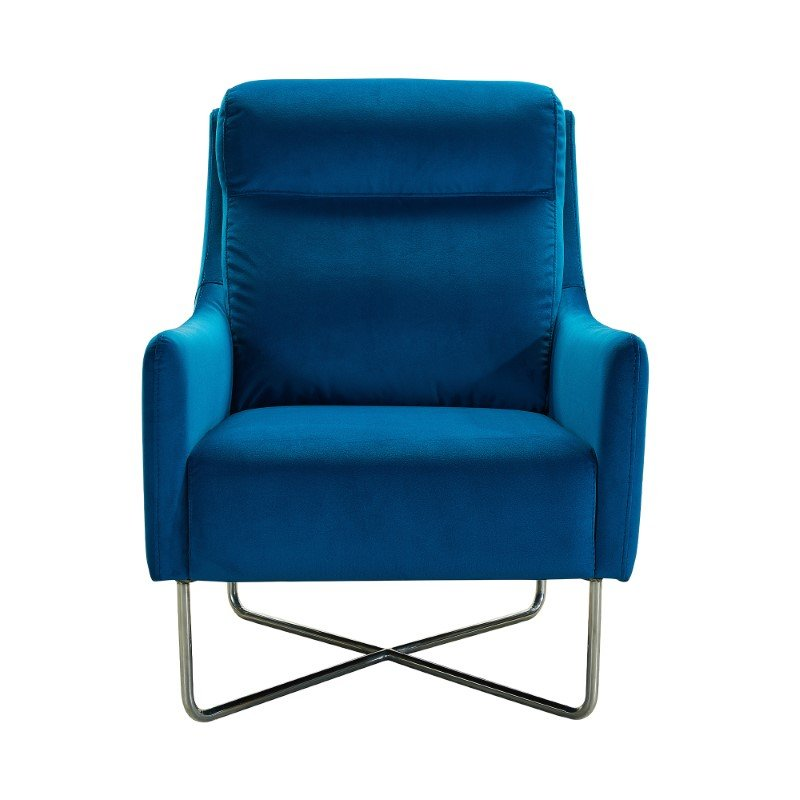 Armen Living Amber Contemporary Accent Chair in Brushed Stainless Steel Finish and Velour Teal Blue Fabric (LCABCHBLUE)