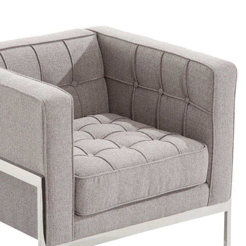 Armen Living Andre Contemporary Chair In Gray Tweed and Stainless Steel (LCAN1GR)