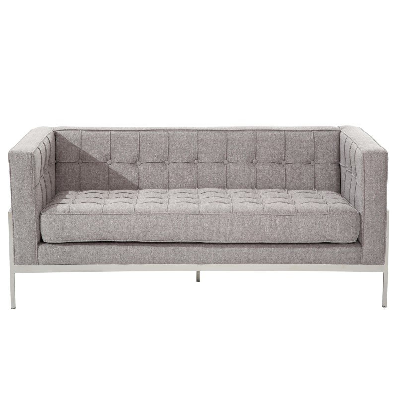 Armen Living Andre Contemporary Loveseat In Gray Tweed and Stainless Steel (LCAN2GR)