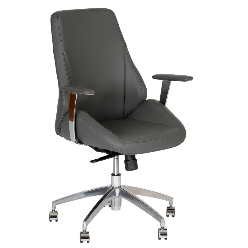 Armen Living Argo Contemporary Office Chair in Gray And Chrome