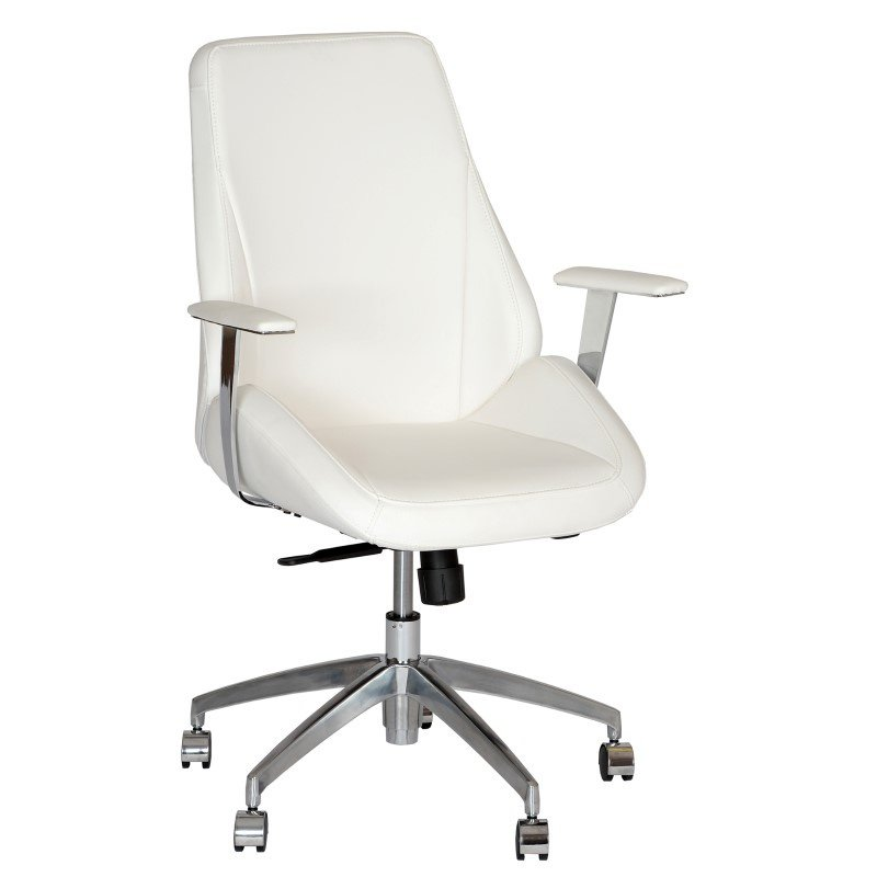 Armen Living Argo Contemporary Office Chair in White And Chrome