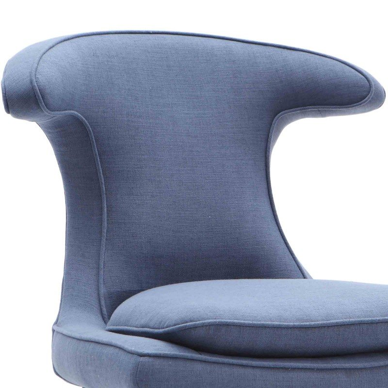 Armen Living Aria Chair in Black Wood Finish with Blue