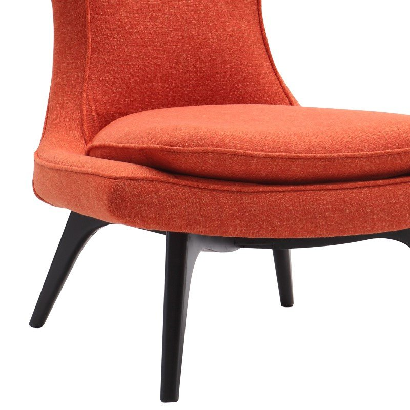 Armen Living Aria Chair in Black Wood Finish with Orange