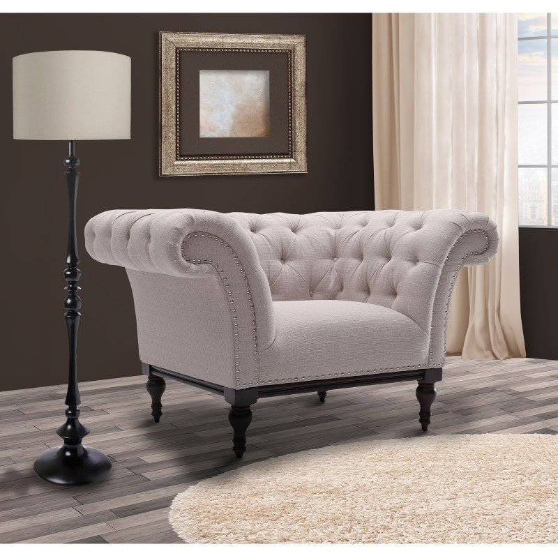 Armen Living Avery Chair in Sand Fabric with Dark Brown Legs (LCAV1SA)
