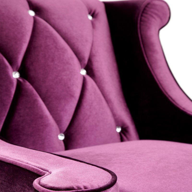 Armen Living Barrister Chair In Purple Velvet With Crystal Buttons (LC8441PURPLE)
