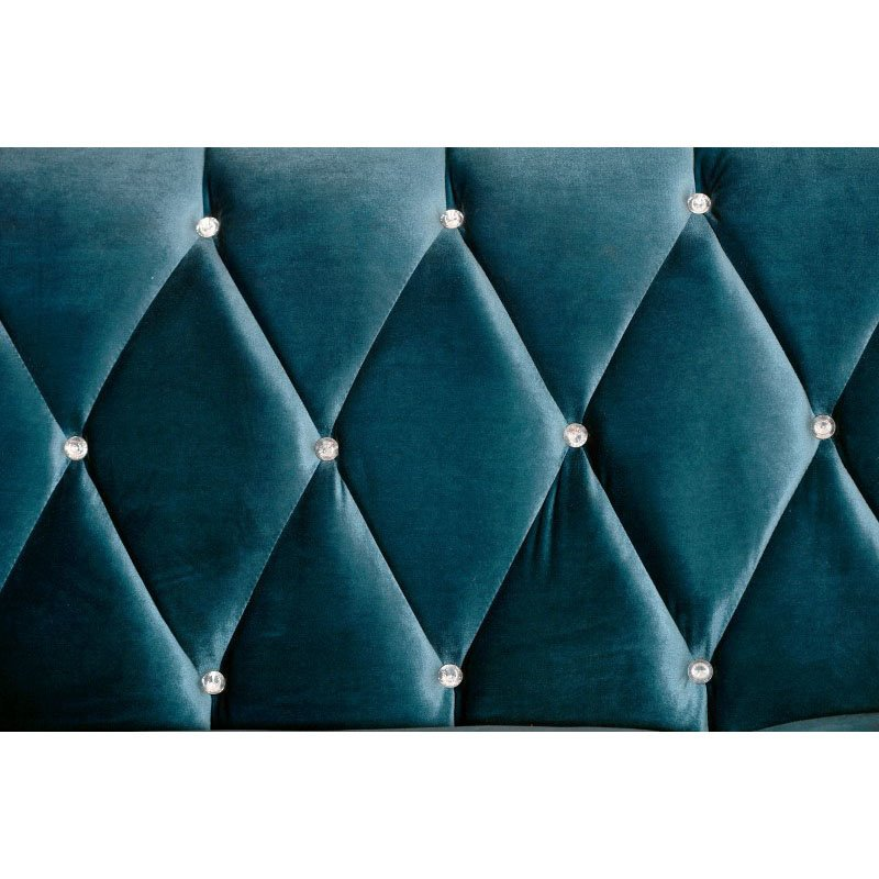 Armen Living Barrister Sofa In Blue Velvet With Crystal Buttons (LC8443BLUE)