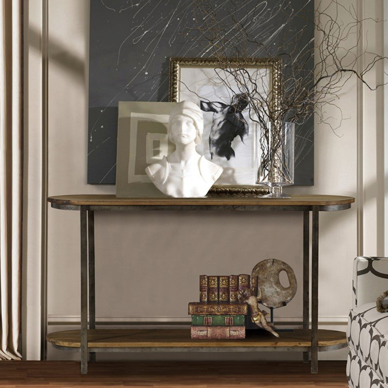Armen Living Barstow Pine Top Console Table With Gunmetal Frame