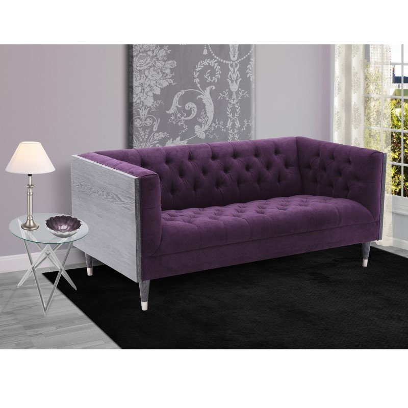 Armen Living Bellagio LoveSeat in Black Wash Wood Finish with Shiny Silver Legs