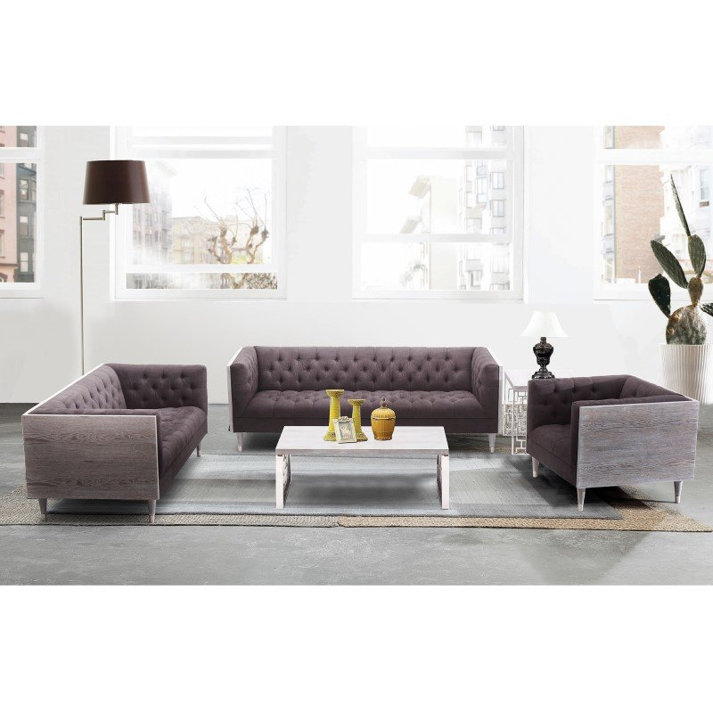 Armen Living Bellagio LoveSeat in Grey Wash Wood Finish with Shiny Silver Legs and Charcoal