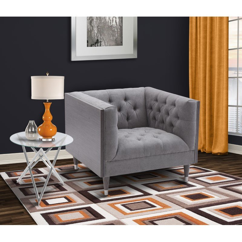 Armen Living Bellagio Sofa Chair in Grey Wash Wood Finish with Shiny Silver Legs Caps and Mist Fabric (LCBE1MI)