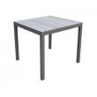 Armen Living Bistro Outdoor Patio Dining Table in Grey Powder Coated Finish with Grey Wood Top (LCBIDIGR)