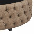 Armen Living Blossom Contemporary Ottoman in Brown Faux Leather (LCBSOTBR)