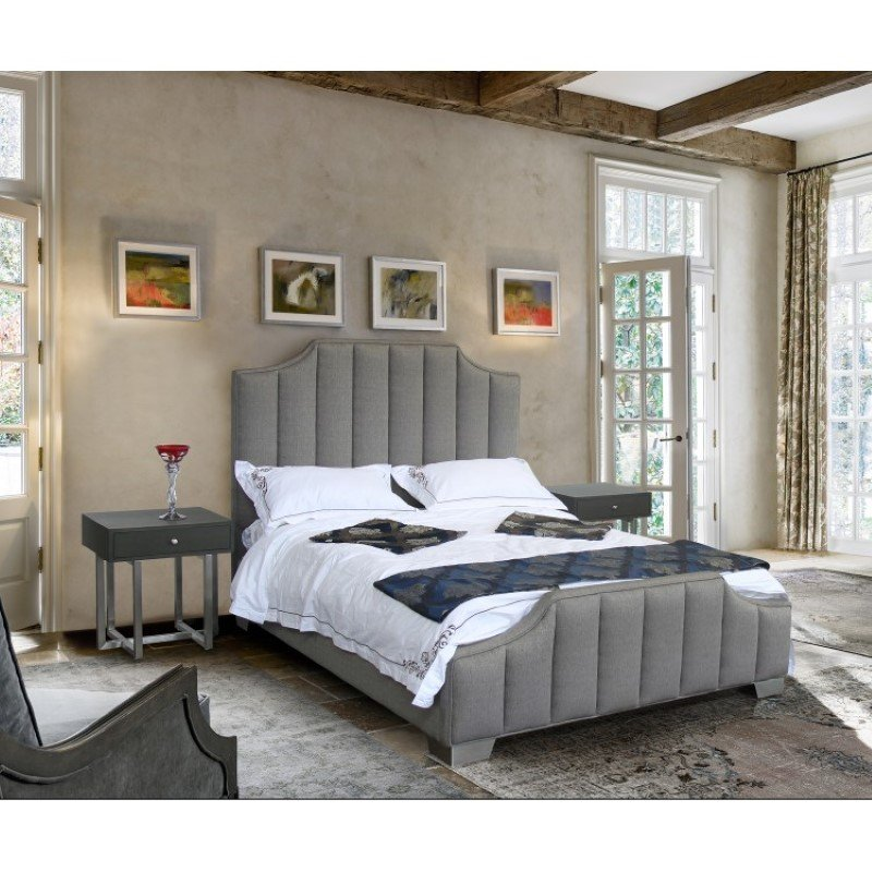 Armen Living Camelot Contemporary Queen Bed with Polished Stainless Steel and Grey Fabric (LCCTBEGR)