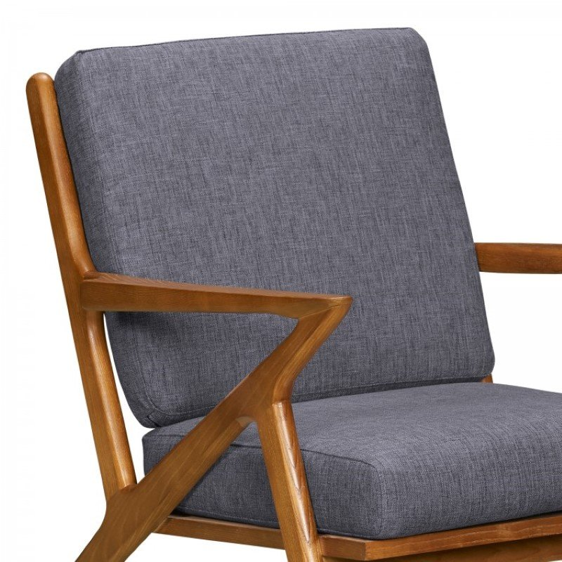 Armen Living Celtic Mid-Century Accent Chair in Champagne Ash Wood Finish and Dark Grey Fabric (LCCTCHGR)