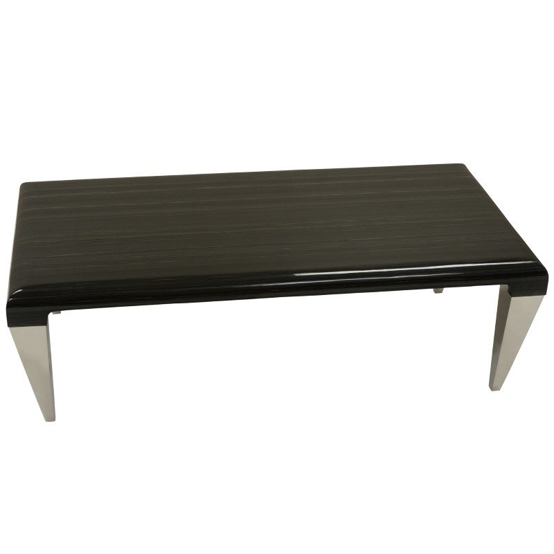 Armen Living Chow Contemporary Marble Coffee Table in Black And Stainless Steel Finish