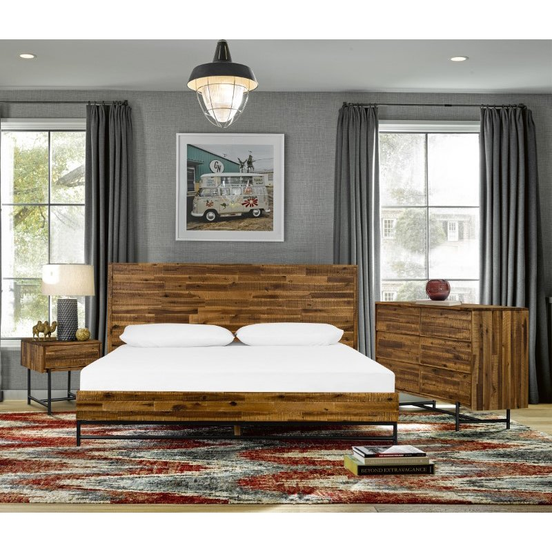 Armen Living Cusco 4 Piece Acacia King Bedroom Set with Dresser and Nightstands in Antique Acacia (SETCUBDKG4A)