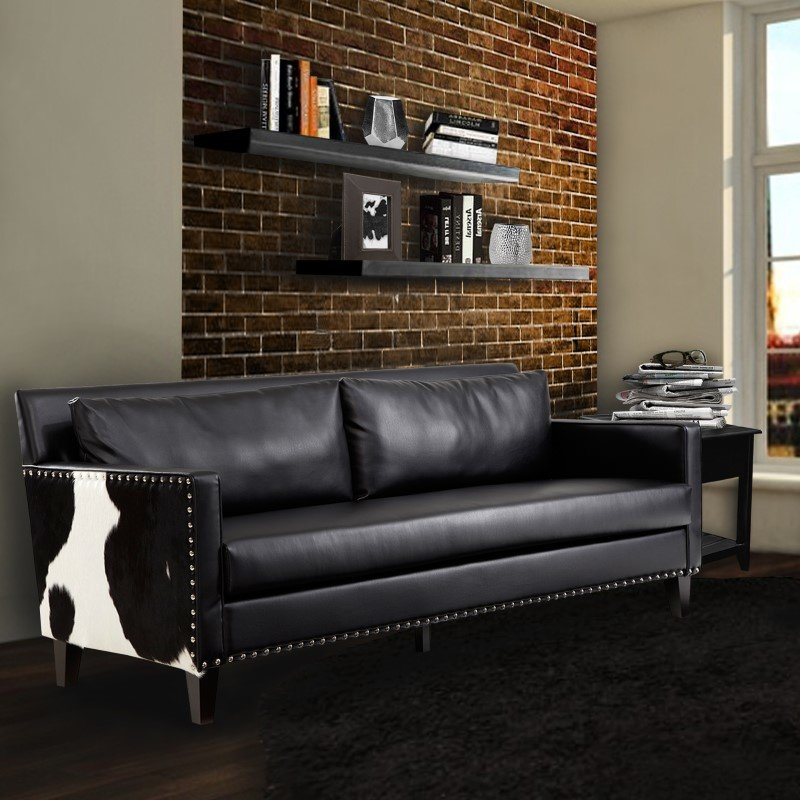 Armen Living Dallas Sofa In Black Leather and Real Cowhide Side Panels (LC21453BL)