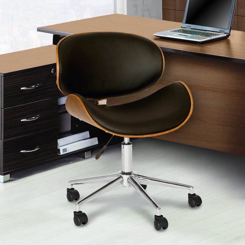 Armen Living Daphne Modern Office Chair In Chrome Finish with Black Faux Leather And Walnut Veneer Back (LCDAOFCHBL)