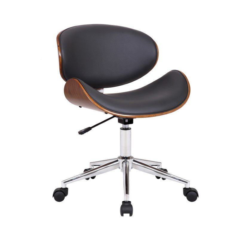 Armen Living Daphne Modern Office Chair In Chrome Finish with Gray Faux Leather And Walnut Veneer Back (LCDAOFCHGR)