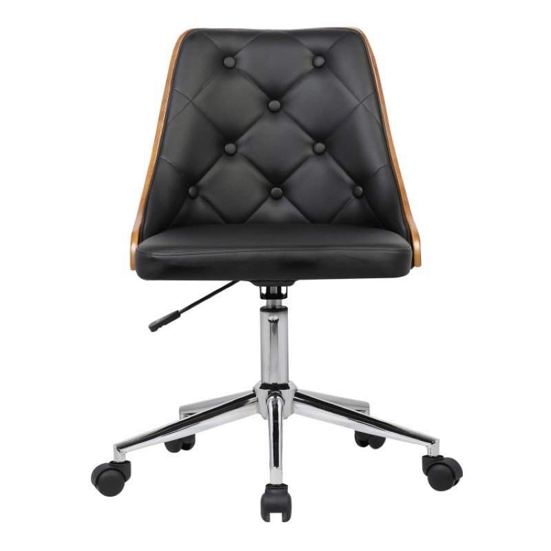 Armen Living Diamond Mid-Century Office Chair in Chrome finish with Tufted Black Faux Leather and Walnut Veneer Back (LCDIOFCHBLACK)
