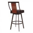 """Armen Living Easton 26"""" Counter Height Barstool in Auburn Bay with Brown Faux Leather and Sedona Wood (LCETBASEBR26)"""