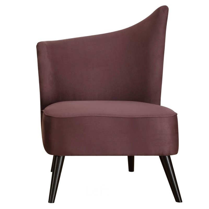 Armen Living Elegant Accent Chair With Flared Back (Left Side) in Purple Microfiber