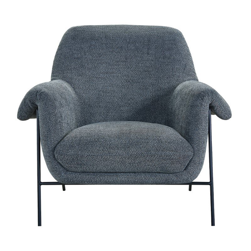 Armen Living Elie Contemporary Accent Chair in Black Metal Finish and Pewter Fabric (LCELCHPWT)