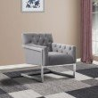 Armen Living Emily Contemporary Accent Chair in Brushed Stainless Steel with Grey Velvet (LCEYCHGRVL)