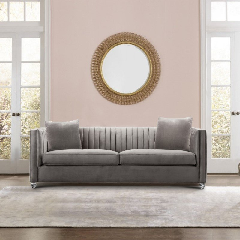 Armen Living Emperor Contemporary Sofa with Acrylic Finish Beige Fabric and Pillows (LCEP3BG)