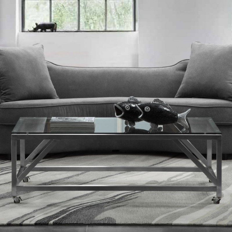 Armen Living Enessa Contemporary Rectangular Coffee Table with Wheels in Brushed Stainless Steel with Tempered Glass Top (LCENCOGLBS)