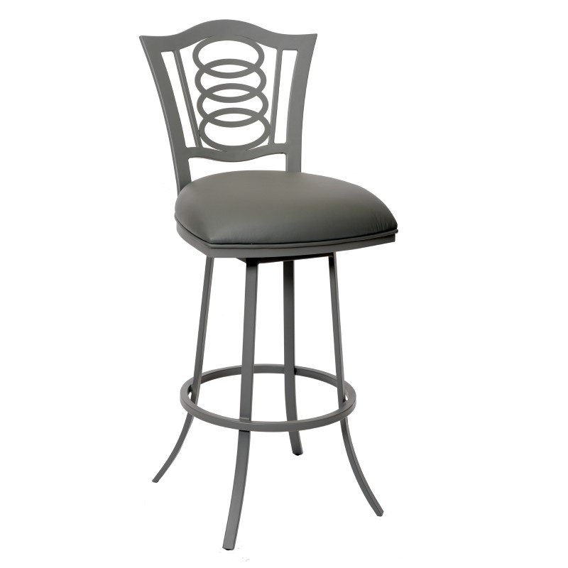 "Armen Living Essex 26"" Transitional Barstool in Gray And Gray Metal"