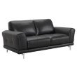 Armen Living Everly Contemporary Loveseat in Genuine Black Leather with Brushed Stainless Steel Legs (LCEV2BL)