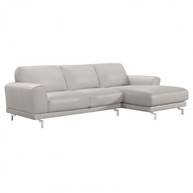 Armen Living Everly Contemporary Sectional in Genuine Dove Grey Leather with Brushed Stainless Steel Legs (LCEVSEGR)