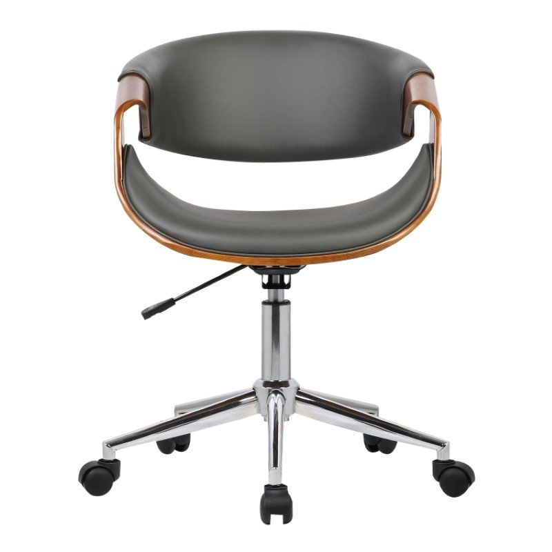 Armen Living Geneva Mid-Century Office Chair in Chrome finish with Gray Faux Leather and Walnut Veneer Arms (LCGEOFCHGREY)