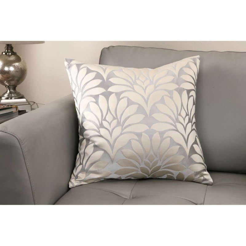 Armen Living Gisela Contemporary Decorative Feather and Down Throw Pillow in Silver Jacquard Fabric (LCPIGI20SILVER)