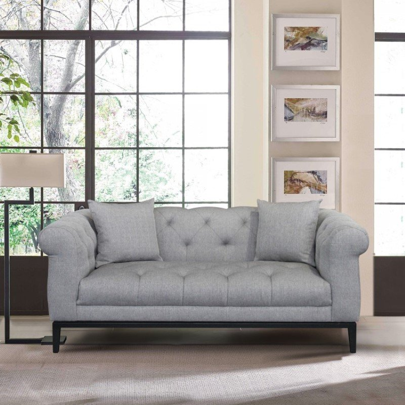 Armen Living Glamour Contemporary Loveseat with Black Iron Finish Base and Grey Fabric (LCGL2GR)