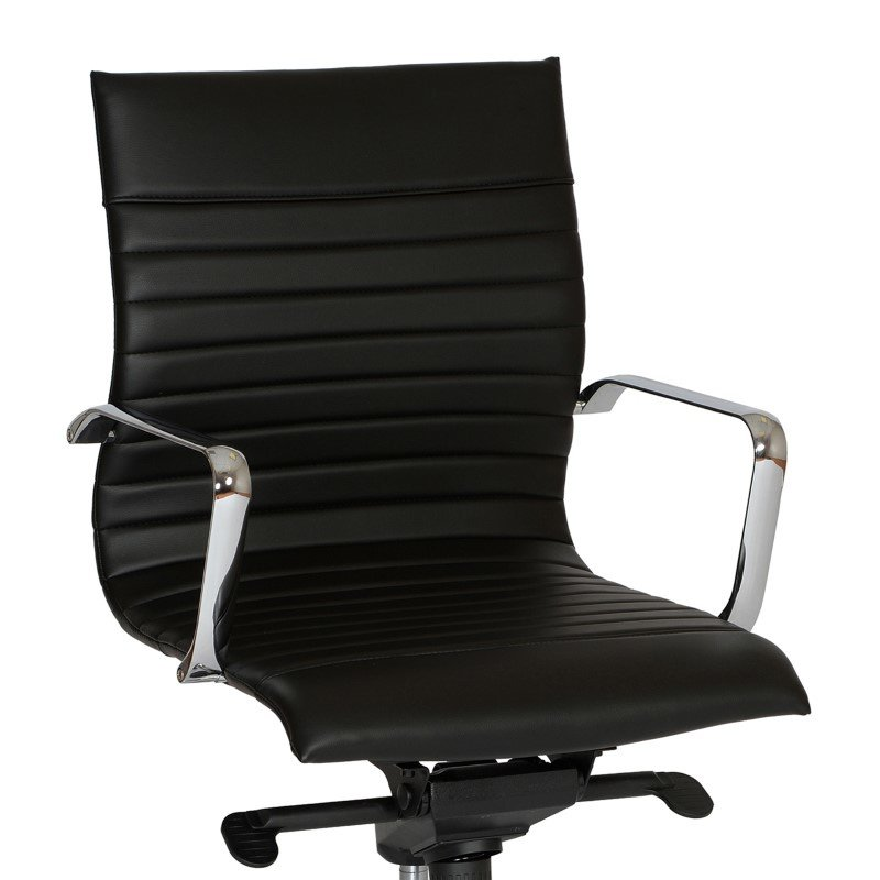 Armen Living Hannah Contemporary Office Chair in Black And Chrome