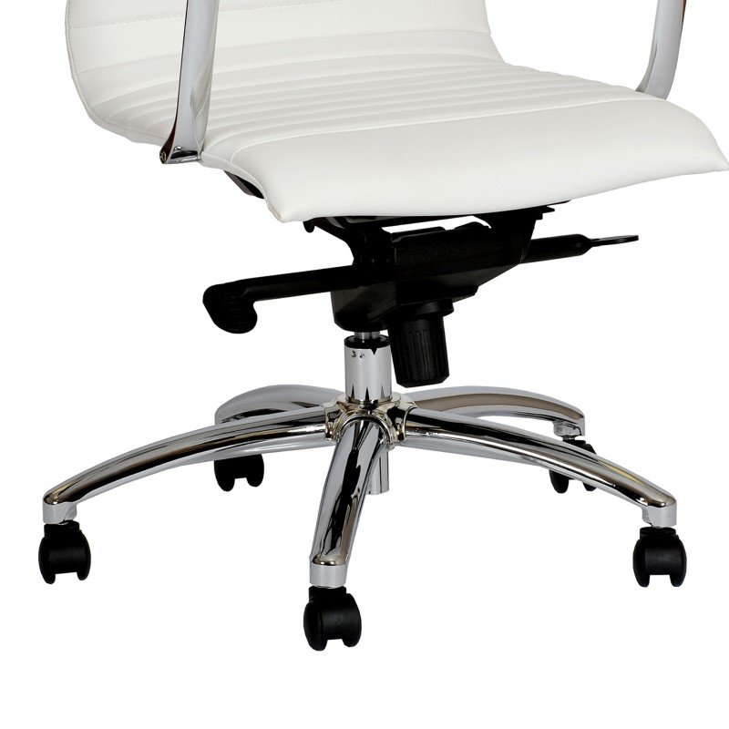 Armen Living Hannah Contemporary Office Chair in White And Chrome