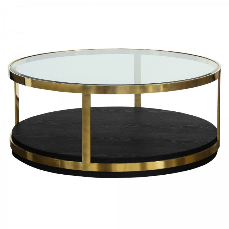 Armen Living Hattie Contemporary Coffee Table in Brushed Gold Finish and Black Wood (LCHTCOBL)